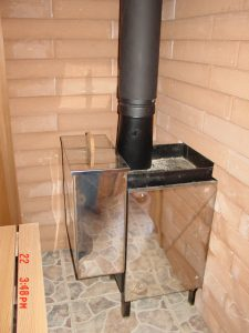 Standard wood burning stove installed